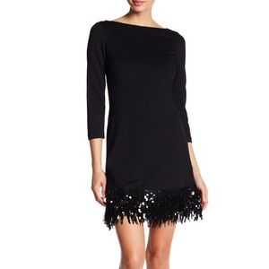 Eliza J Black Sequin Fringe Shift Dress LBD Size 2